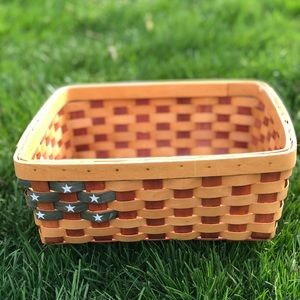Red white and blue American flag basket